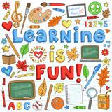 Back to School Supplies Notebook Doodle Vector Design Elements