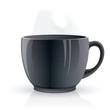Black hot tea cup