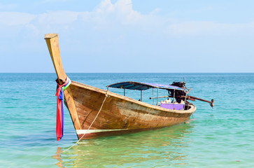 Traditional longtail boats in the poda island, Krabi