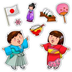 set of Japanese children and symbols