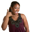 Smiling Woman with Phone Gesture