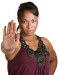 Lady Using Stop Gesture