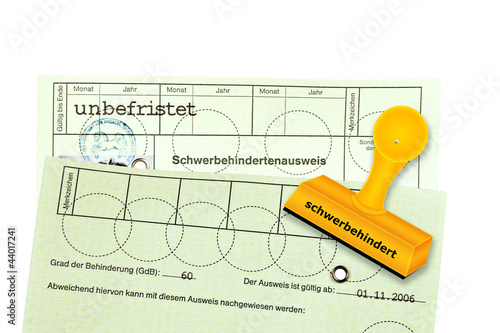 Leinwanddruck Bild Schwerbehindertenausweis