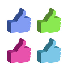 set of 3d colorful Thumb Up, vector icons