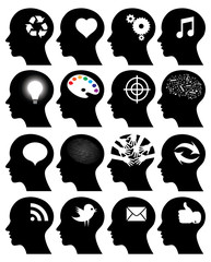 Set of 16 head icons with idea symbols