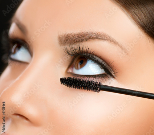Mascara Applying. Makeup Closeup. Eyes Make-up