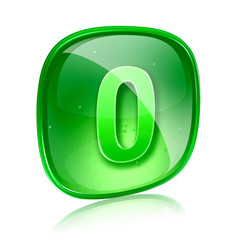 number zero icon green glass, isolated on white background.