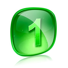 Number one icon green glass, isolated on white background