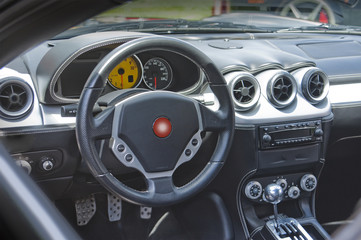Sports car dashboard and interior