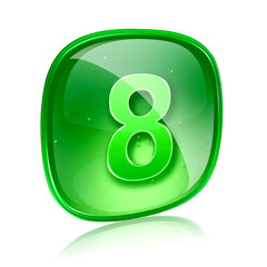 Number eight icon green glass, isolated on white background