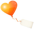 Flying Orange Heart Balloon & Beige Label