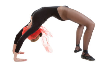 Young ballerina in black costume
