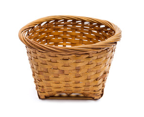 Empty Wooden Basket isolated on white background