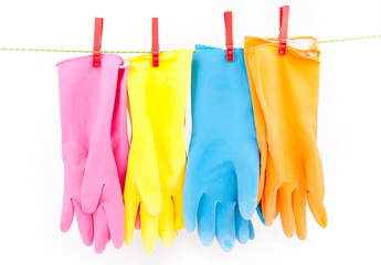 cleaning gloves on string