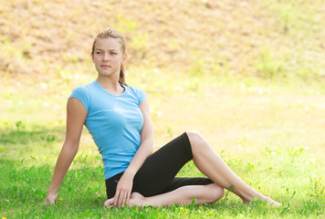 Fitness woman relax