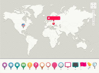 World Map with Pins  -- EPS 10 - Contain Transparency --