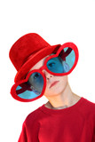 Boy In Red Hat And Heart Glasses Vertical
