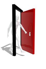 Persona cruzando una puerta