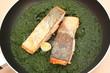 Dos de Saumon - épinards cuisinés