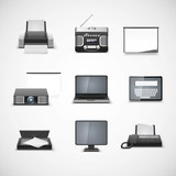 multimedia vector icon set