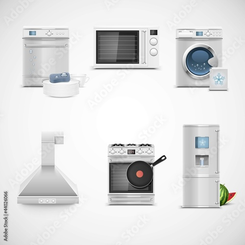kitchen technique vector icon set