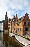 Classic view of channels of Bruges. Belgium.