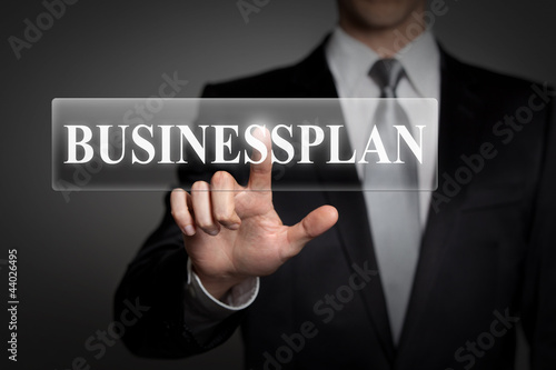 businessman pressing virtual button - businessplan