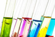 Laboratory test tubes with liquids of different colors