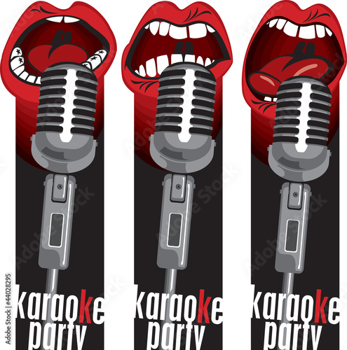 three banners with singing into a microphone mouths © paseven