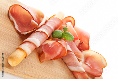 Prosciutto background. Delicious eating.