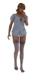 Model in babydoll nightdress and stockings