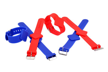 red and blue RFID bracelets