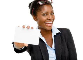 Attractive AFrican American woman holding white placard isolated