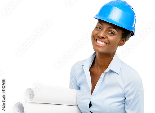 Confident African American woman architect smiling white backgro