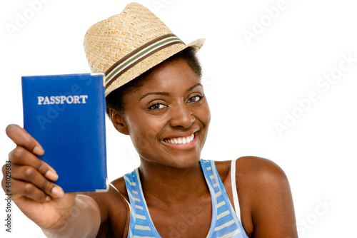 Happy African American Woman tourist holding passport white back