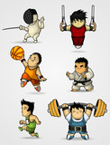 Set of characters engaged in various sports