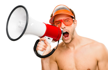 Sexy male lifegaurd shouting in megaphone on white background