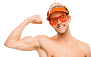 CLoseup of attractive young man flexing bicep muscles on white b