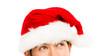 Closeup of cuacasian man wearing christmas hat for santa white