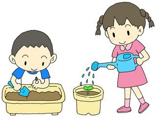 種を植える子供