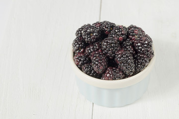 top view image of blackberries on bowl