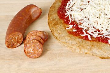 sausage with pizza