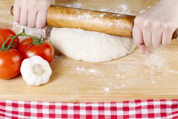 rolling pin knead on dough