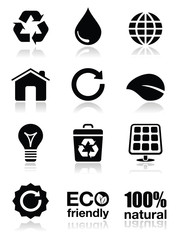 Green ecology icons set