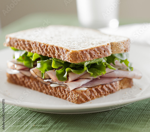 deli meat sandwich with ham, lettuce and mayo