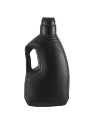 bottiglia di plastica nera isolata su fondo bianco