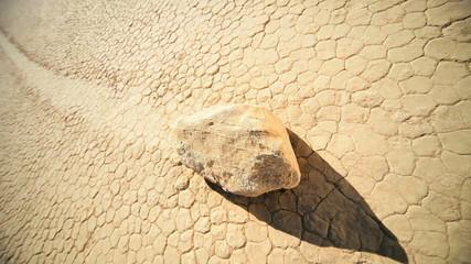 Cracked Earth Desert Valley Floor Moving Rock