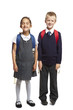 School boy and girl on white background