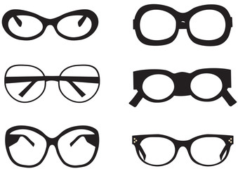 Black sunglasses icons on the white background.