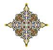 Lozenge with floral motif